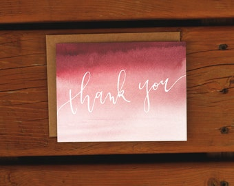 Watercolor Ombre Thank You Card | Customizable | Wedding Baby Shower | Thanks | Blank | Just Because | Custom Handpainted