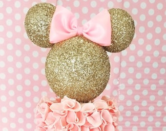 6c963ec598f4 Gold and Pink Minnie Mouse inspired 3D Cake Topper