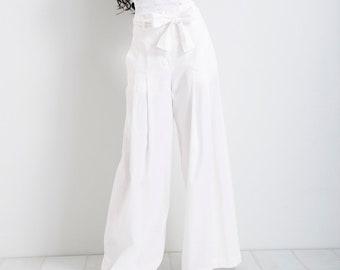 71740a1f027a Linen Palazzo Pants/ White Pants/ Summer Pants/ Wide Leg Pants/ Loose Pants/  Woman Trousers/ High Waisted Pants/ Linen Pants/ FriendsFashion