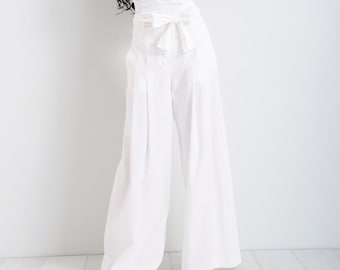 daf38967769 Linen Palazzo Pants  White Pants  Summer Pants  Wide Leg Pants  Loose Pants   Woman Trousers  High Waisted Pants  Linen Pants  FriendsFashion