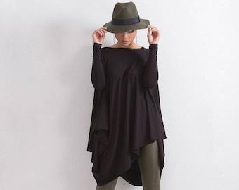 Woman Black Casual Loose TunicOversize Black TunicBlack Loose TopMaxi TunicPlus size TunicShort sleeves tunic dressblouseT1292