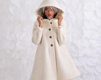 White Wool Coat Elegant Coat Winter Jacket Womens Wool Coat Warm Coat Danellys D14.07.07 Handmade Coat Winter Coat Women Wool Jacket