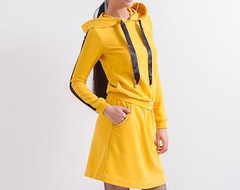 064fe8bffb8 Yellow Hoodie Dress  Sport Dress  Casual Dress  Short Dress  Long Sleeve  Dress  Mini Dress  Loose Dress  Plus Size Dress  Friends Fashion