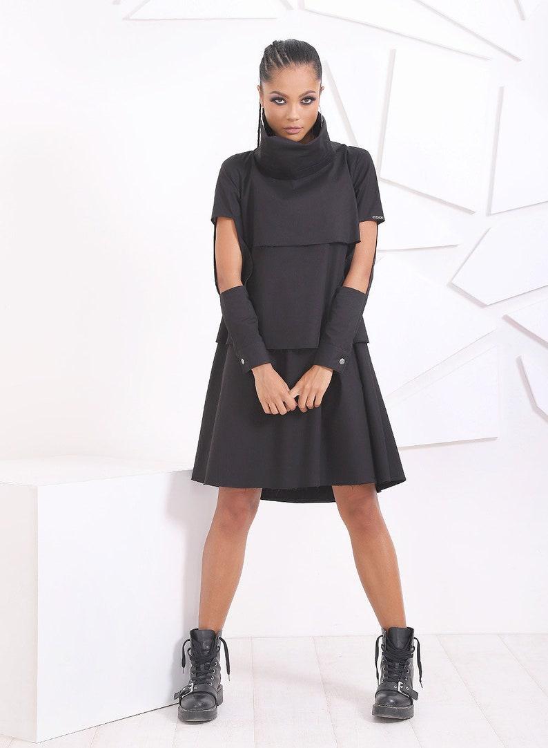Extravagantes Kleid / schwarz Casual Kleid / Midi-Kleid   Etsy