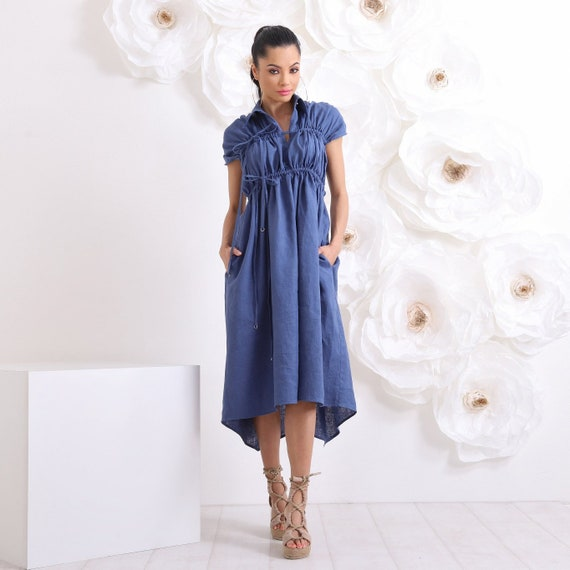 Linen Dress, Maxi Dress, Plus Size Dress, Dress With Pockets