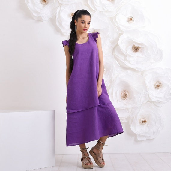 Linen Dress, Summer Plus Size Dress, Maxi Dress With Pockets, Linen Clothing