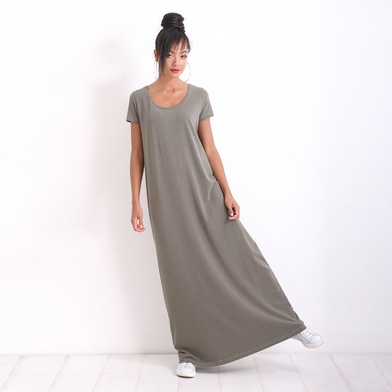 Plus Size Dress/ Casual Dress/ Maxi Dress/ Short Sleeve Dress/ Long Dress/  Loose Dress/ OVERSIZE Dress/ Green Casual Dress/ Friends Fashion
