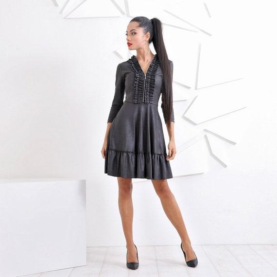 Faux Leather Womens Dresses, Black Midi Dress