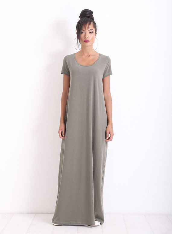 Plus Size Dress/ Casual Dress/ Maxi Dress/ Short Sleeve Dress/ Long Dress/  Loose Dress/ OVERSIZE Dress/ Green Casual Dress/ Friends Fashion