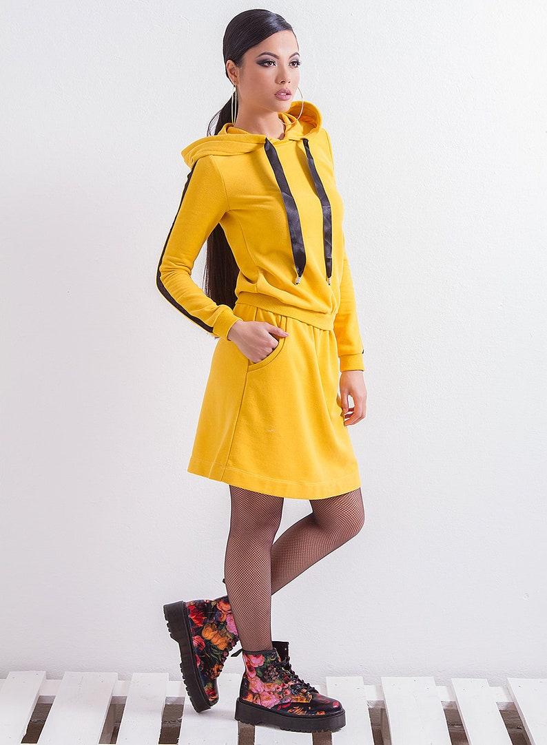 718483e2db0 Yellow Hoodie Dress  Sport Dress  Casual Dress  Short Dress