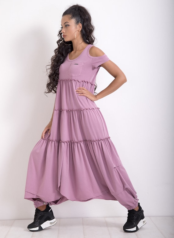 Extravagant Dress/ Plus Size Dress/ Maxi Dress/ Asymmetrical Dress/ Summer  Dress/ Party Dress/ Loose Dress/ Short Sleeve Dress