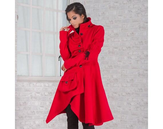 plus de photos 98ed8 f32e0 Manteau d'hiver, manteau laine, manteau rouge, manteau femme, manteau  décontracté, élégant manteau, manteau asymétrique, Extravagant manteau