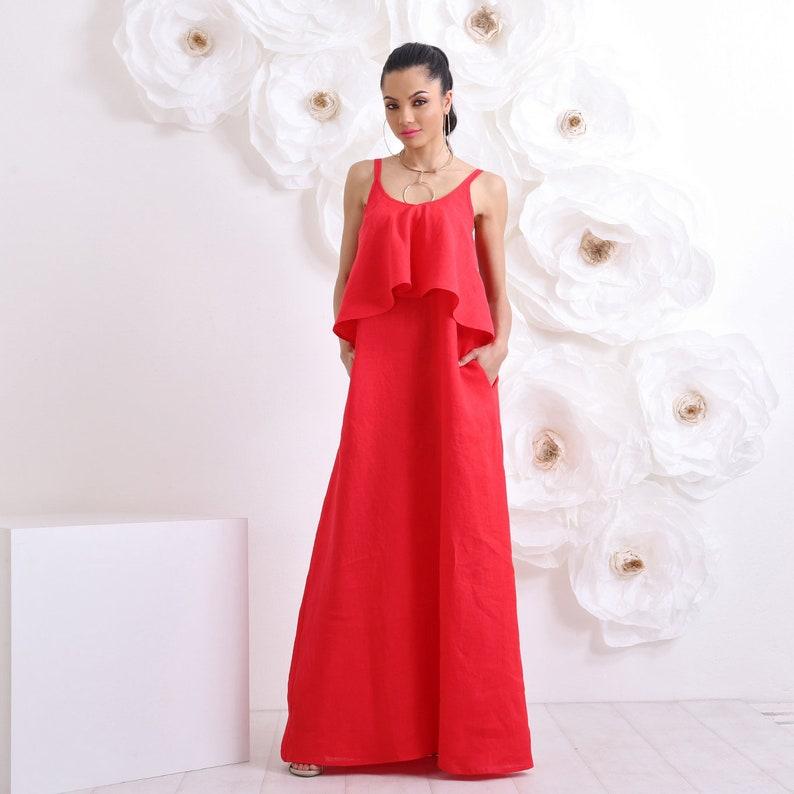 Linen Dress Red Dress Plus Size Maxi Dress Linen Clothing | Etsy