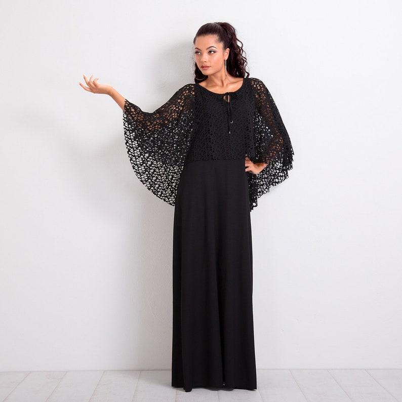 5f27617ba4 Black Dress/ Dress Cape/ Maxi Dress/ Loose Dress/ Long Dress/ | Etsy