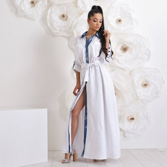 Maxi Linen White Dress, Plus Size Dress, Kaftan Dress, Linen Clothing