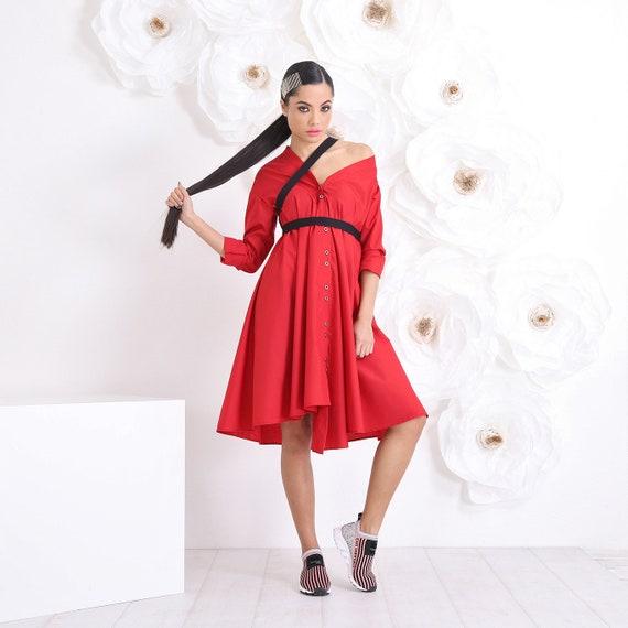 Red Plus Size Dress, Maxi Black Dress, Casual Dress