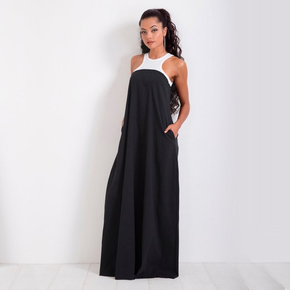 Plus Size Dress/ Long Dress/ Summer Dress/ Maxi Dress/ Sleeveless Dress/  Casual Dress/ Off Shoulder Dress/ Black and White Dress
