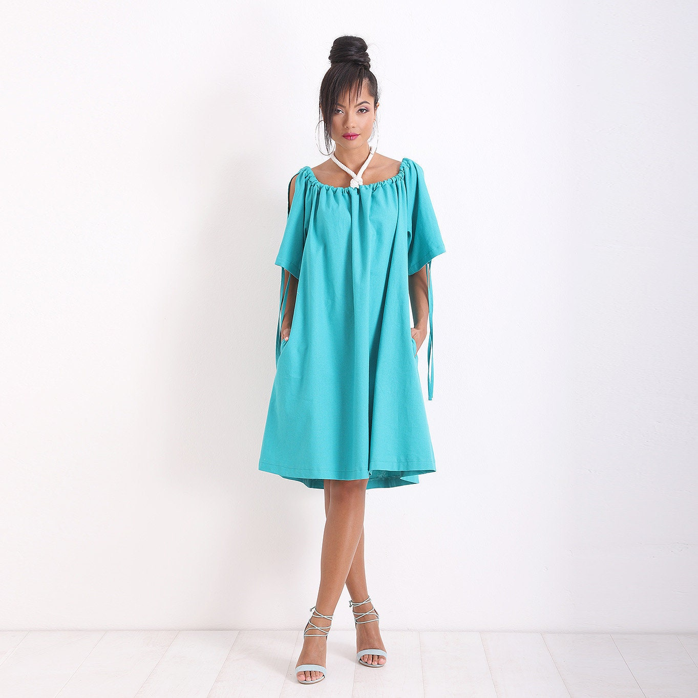 Turquoise Dress/ Maxi Dress/ Plus Size Dress/ Summer Dress/ Midi Dress/  Linen Dress/ Casual Dress/ Boho Dress/ Loose Dress/ Friends Fashion