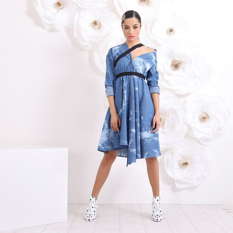 Denim Maxi Dress, Plus Size Party Dress