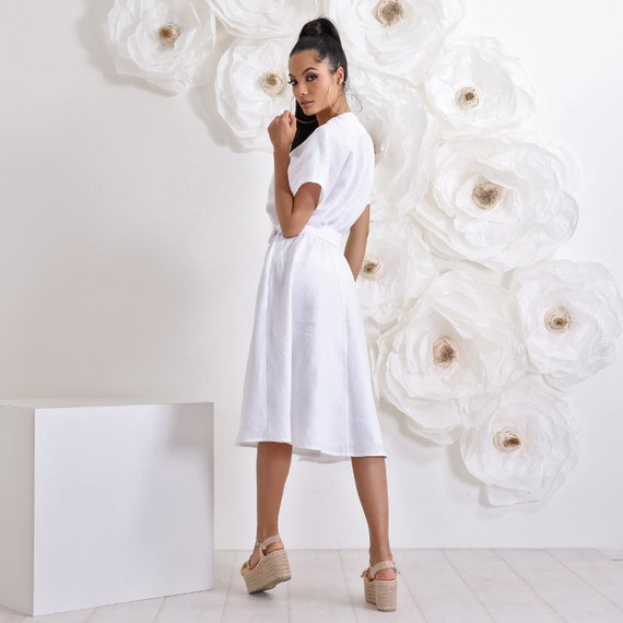 White Linen Dress, Plus Size Midi Dress, Summer Dress, Linen Clothing