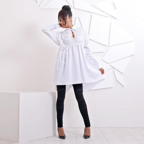 Plus Size White Tunic Shirt Dress Long Sleeve Shirt   Etsy