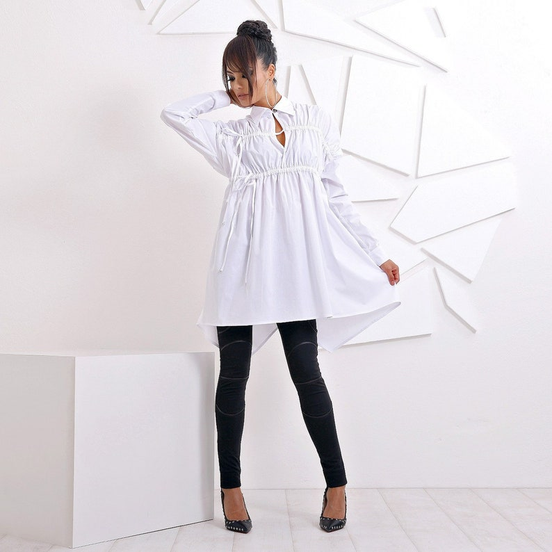 Plus Size White Tunic, Shirt Dress, Long Sleeve Shirt