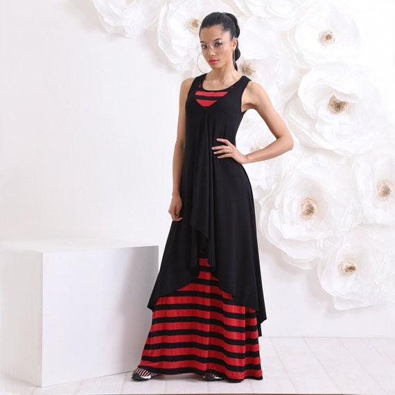 Two Piece Dress, Black Dress, Red Stripe Dress, Plus Size Clothing