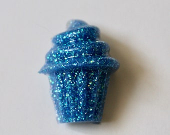 Blue and Green Cupcake Brooch