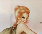 Vargas Girl 2-page Vintage Pin-up, June 1972 Playboy, Mature, Ephemera, Nostalgia, Wall Decor