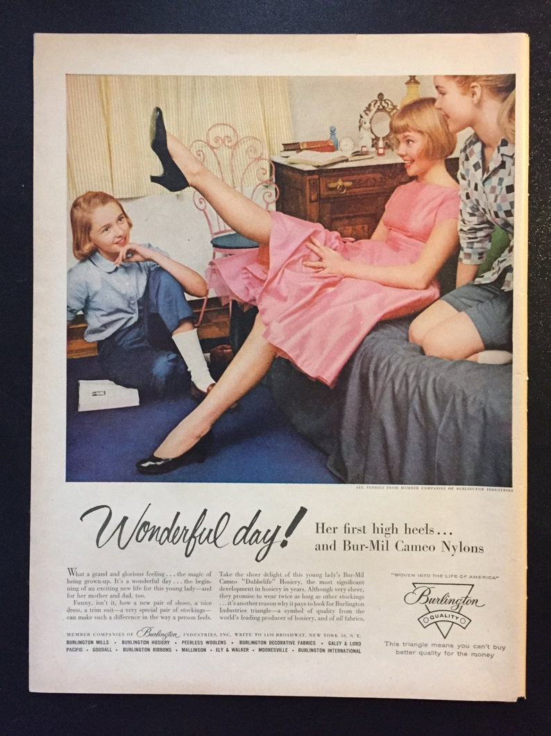 9c9256d0a5b 1956 Bur-Mil Cameo Nylons Vintage Ad Fashion