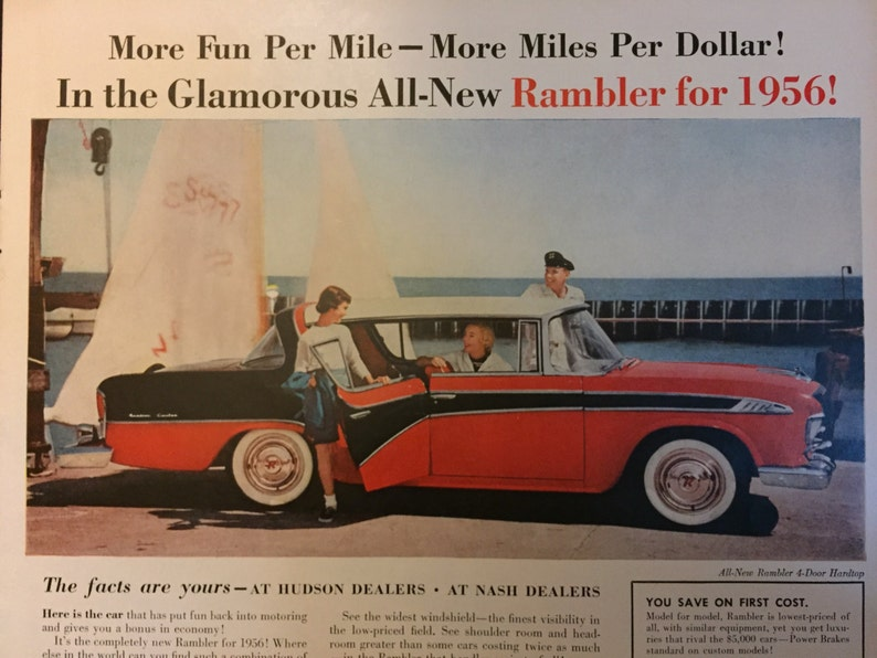 Original Print Ad 1956 Hudson Dealers Rambler Cross Country 2 Page Collectibles Advertising