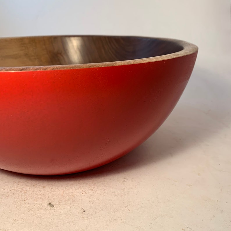 Large Walnut Bowl with a Red Exterior 11.5x4.75