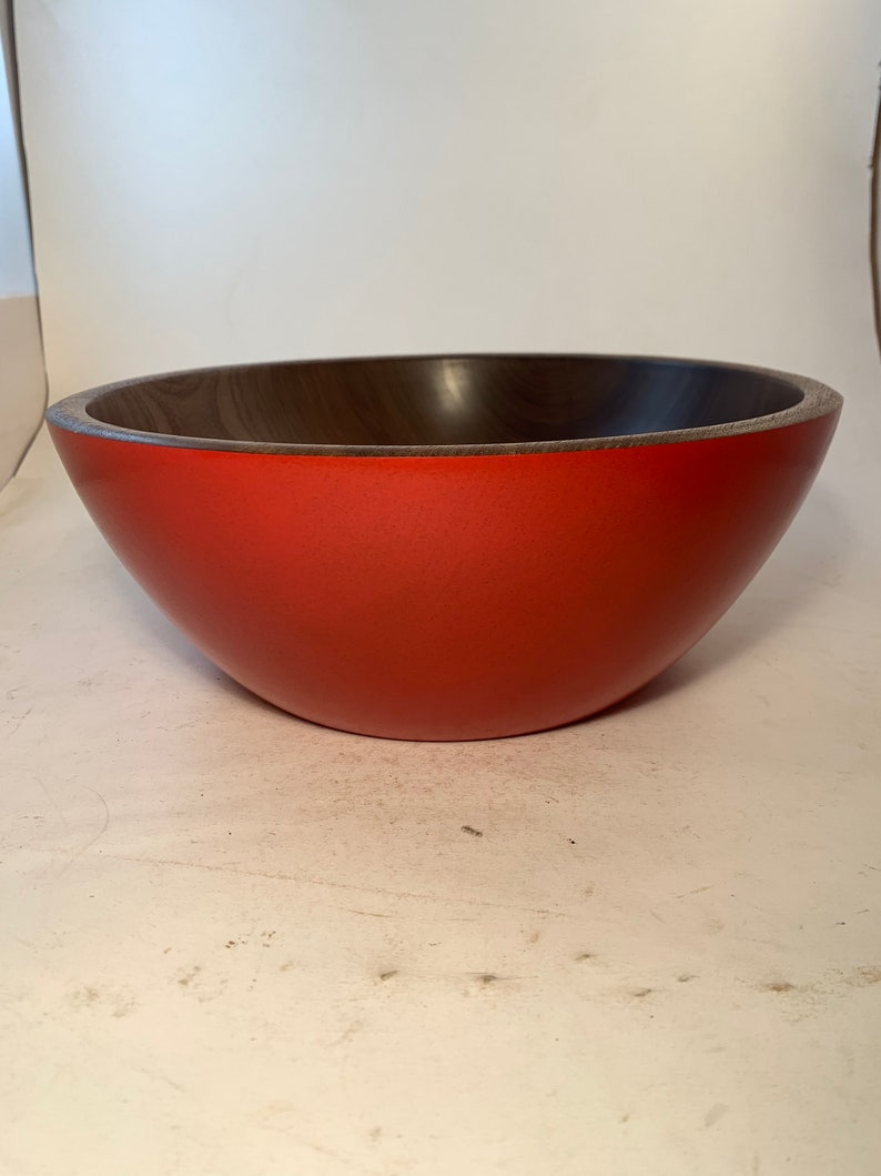 Large Walnut Bowl with a Red Exterior 11.5x4.5