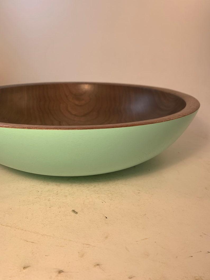 12x3.25 Large Black Walnut Bowl  Satin Teal  Exterior