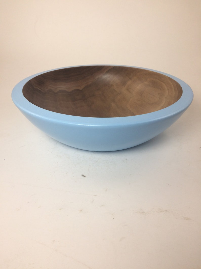 Large Black Walnut Bowl with a Blue Exterior 11.5x3.5