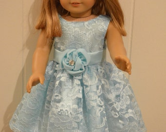 """18"""" Doll Clohting:  Light Blue Satin Dress With Lace Overlay"""