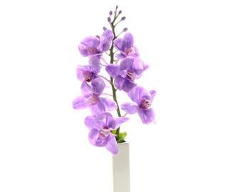 Purple Orchid,Floral Arrangement,Cold porcelain,Purple flowers real touch,Table Centerpiece,Orchid plant,orchid,Exotic plant,Handmade orchid
