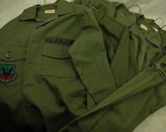 Lot Bulk Wholesale 4 Vintage Unisex Olive Green Khaki Military shirts iqvXTpUU0