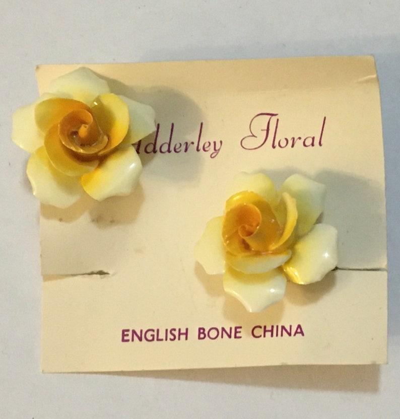 Adderley Floral Bone China Earrings stamped \u201cMade in England.
