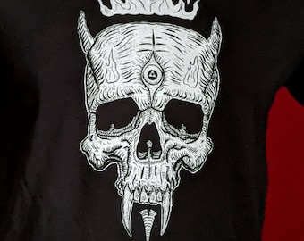 Tshirt, Occult Alchemy Skull Horns Fangs Flame Tattoo Art, Graphic Tee, Halloween, Unisex Mens Womens Screen Print Black Cotton