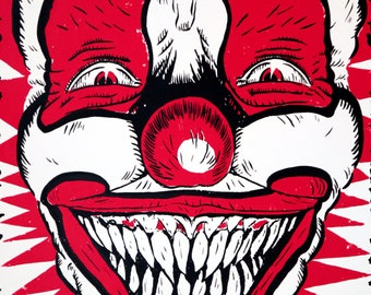 Halloween, Scary Clown Monster Classic Horror Pennywise Screen Print Poster, 11x15 Art Print