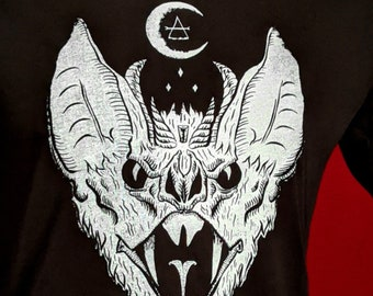 Tshirt, Alchemy Occult Devil Horns Fangs Bat, Halloween, Graphic Tee, Unisex Mens Womens Screen Print Black Cotton