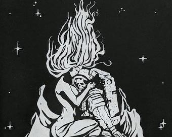 Space Siren Astronaut Skeleton, Starry Night, 8x10 Screen Print