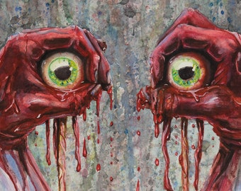 16x20 Horror Painting Art Print, Horror Decor, Halloween Decor, Eyeballs Horror Gore Macabre Art, Horror Gift, Watercolor Painting