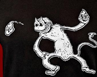 Devil Monkey Poo Emoji Graphic Tee, Funny Shirt Gift, Unisex Mens Womens Screen Print Black Cotton Tshirt