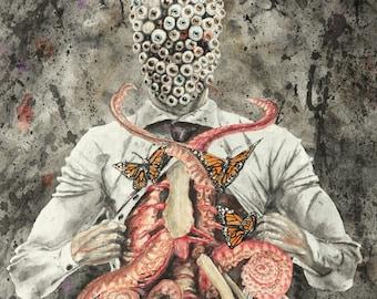 Eyeball Tentacle Butterfly Bones, Horror Art, Watercolor Painting Art Print, Wall Decor
