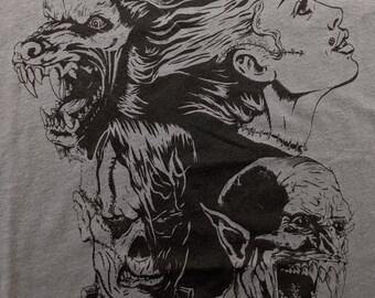 Halloween Shirt, Wolfman, Bride, Frankenstein, Vampire, Classic Monsters Universal, Graphic Tee, Unisex Mens Womens Gray Black Cotton