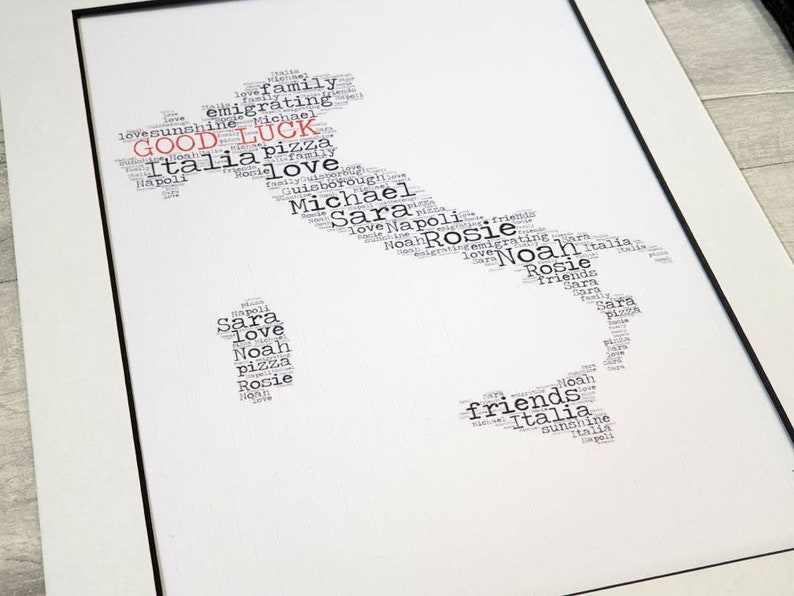 bon voyage print Personalised word art Italy emigrating gift good luck Italia world map design goodbye safe travels farewell