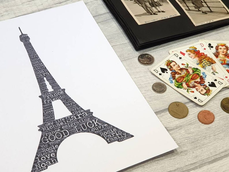 bon voyage print farewell good luck goodbye safe travels France Personalised word art Eiffel Tower emigrating gift adventure