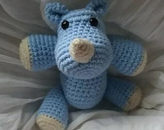 Blue Rhinoceros stuffed animal, Crochet Rhino plush, wild kingdom gift